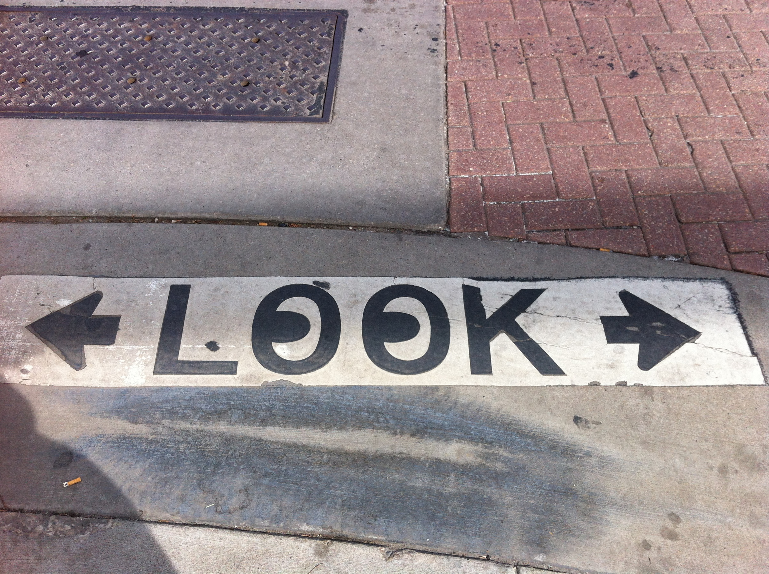 In Salt Lake City, many of the cross walks have a reminder to look both ways.