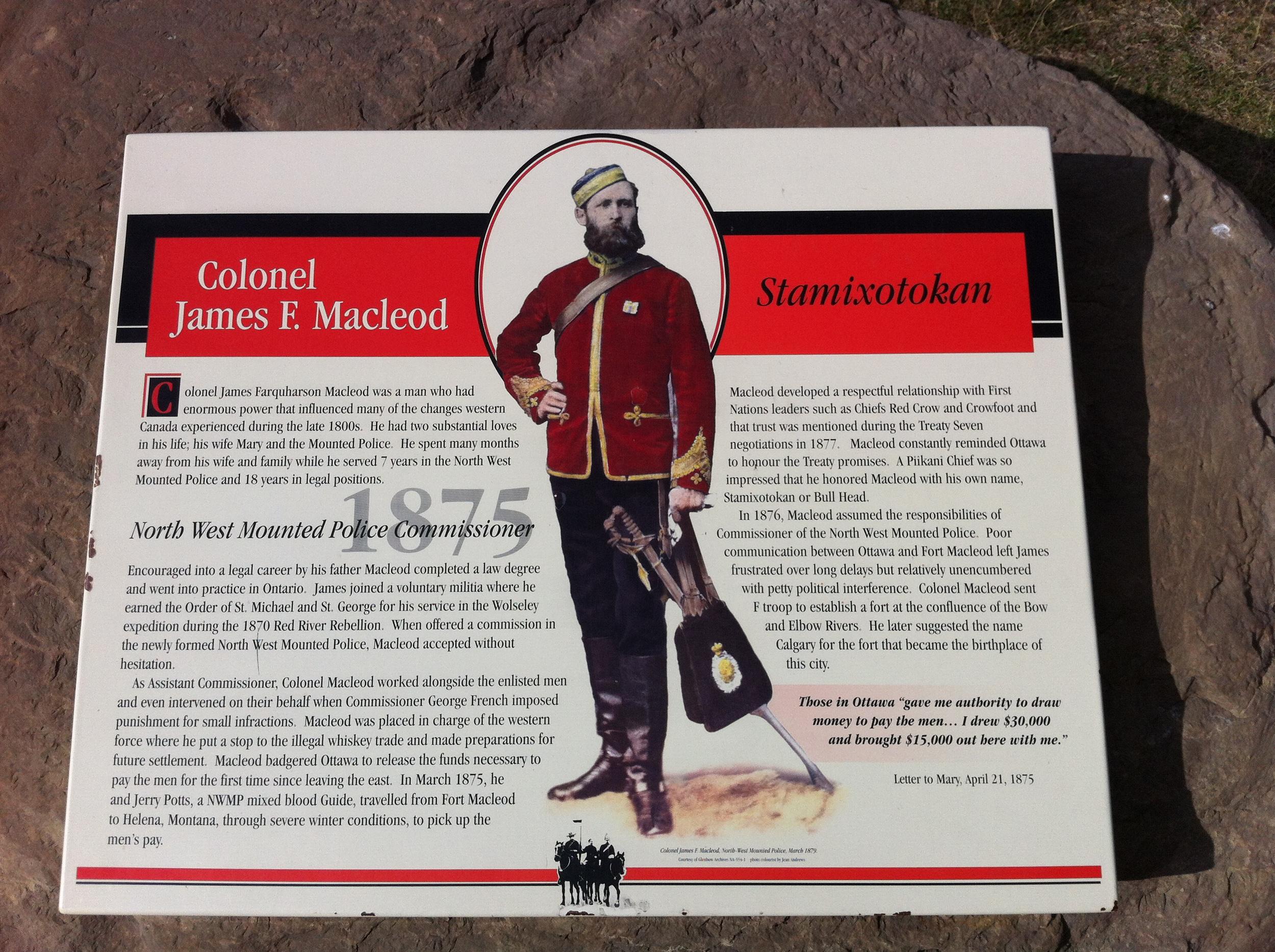 Colonel Macleod historical plaque.