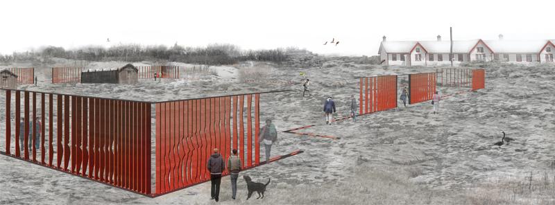 Artist Jill Anholt's modern interpretation of Fort Calgary's original walls.