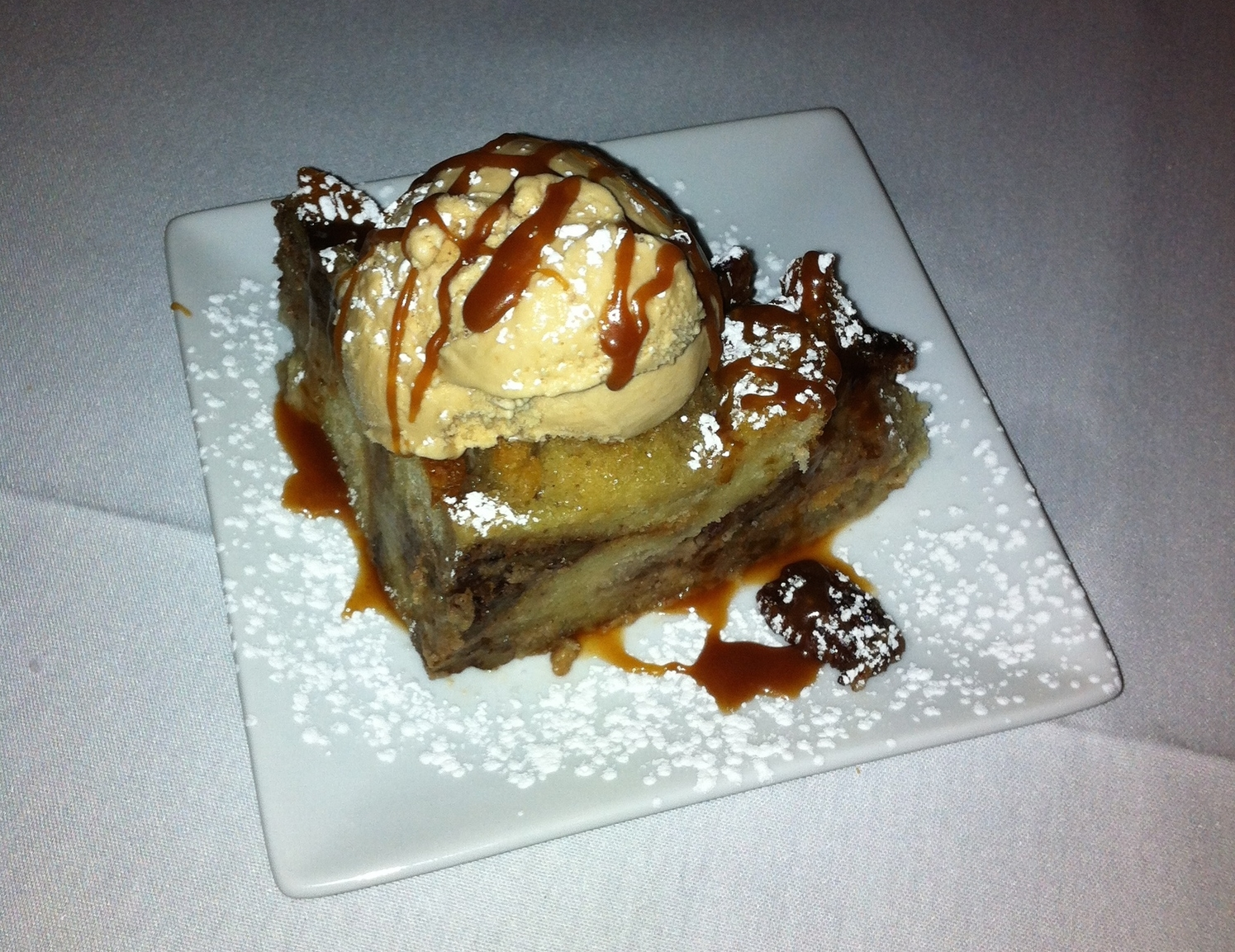Bread pudding with homemade ice cream.