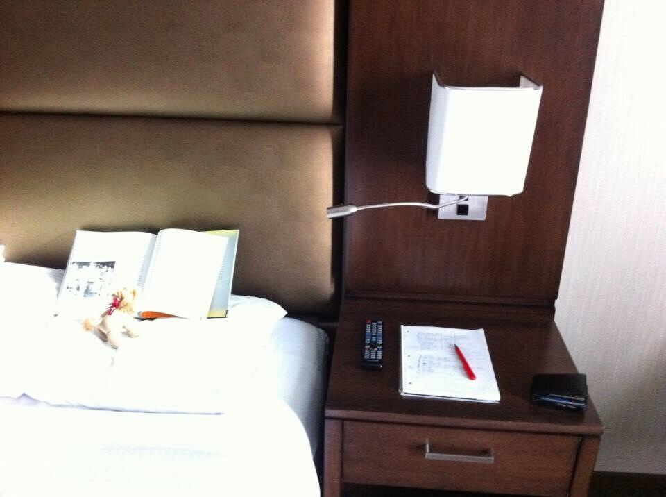 Comfy bed with the best hotel reading light we have found.