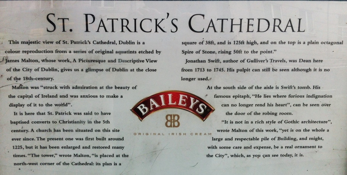 I love that Baileys sponsored this information panel about the park and cathedral.