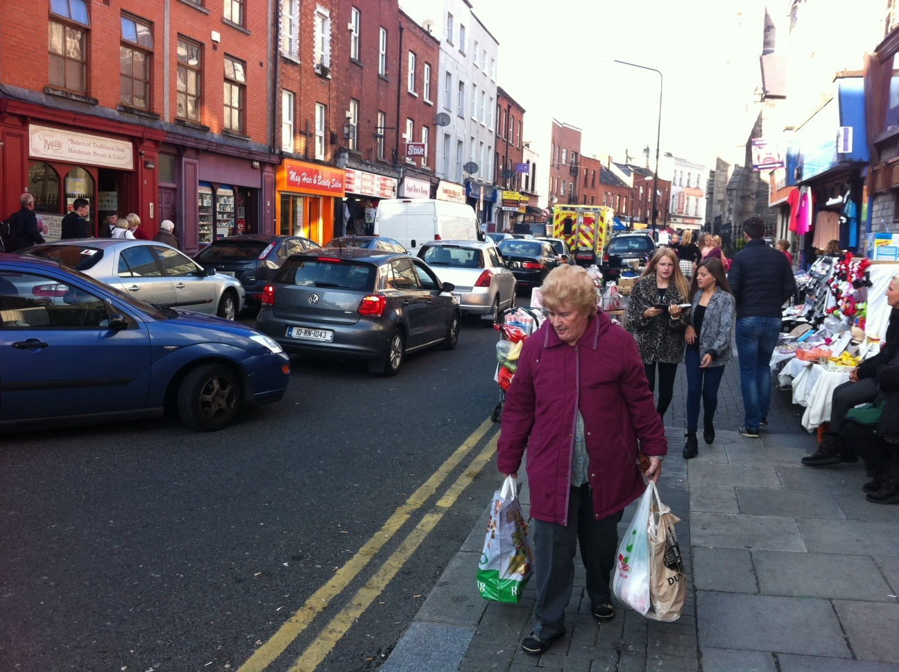 Just a block away, locals of all ages were shopping up a storm on Meath Street.