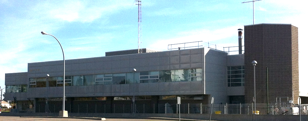 The  HMCS Tecumseh Navy Base has a similar facade as the Casel condominium building.