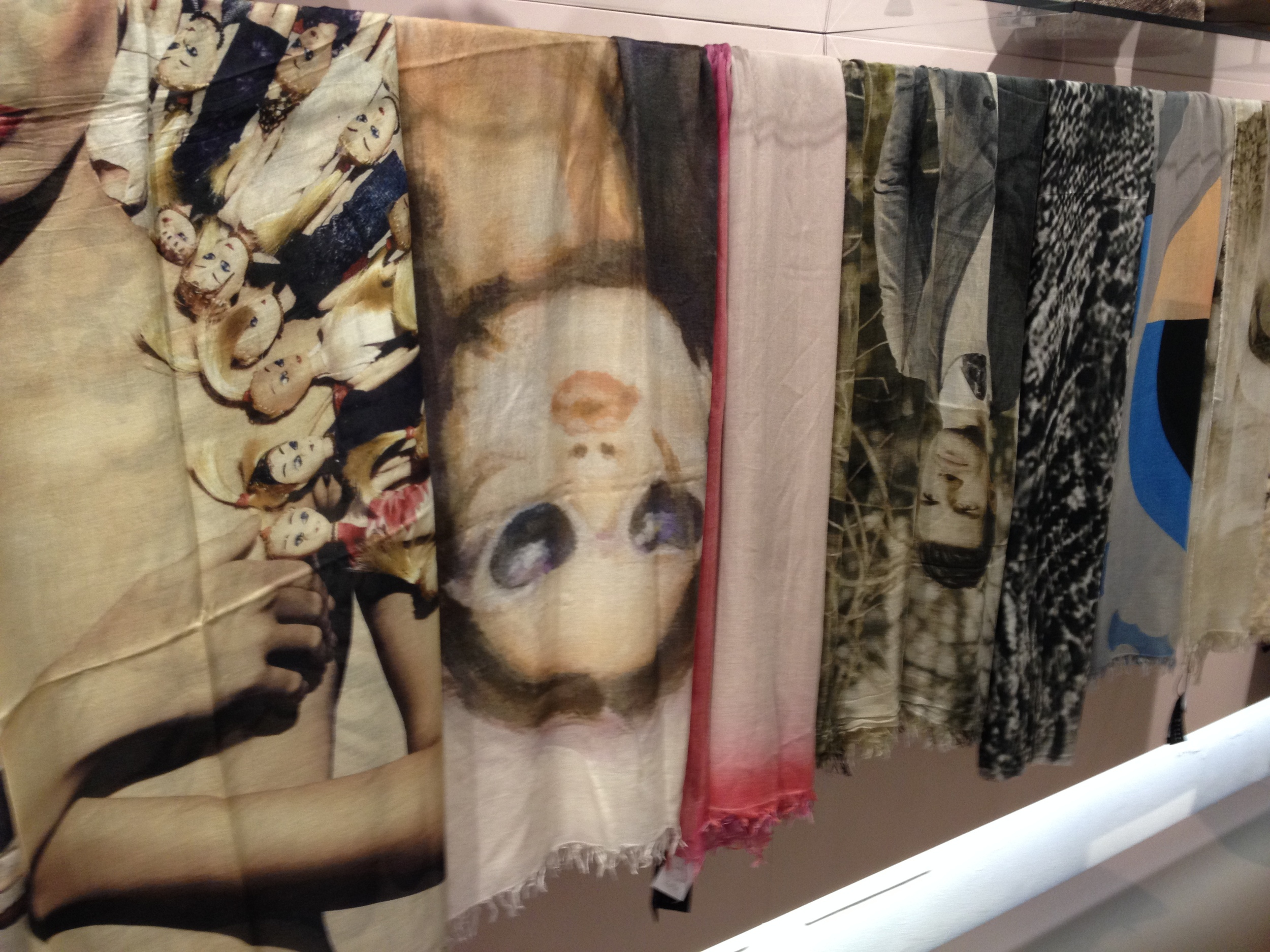 This wall of scarves at FLY had the feel of contemporary art exhibition.