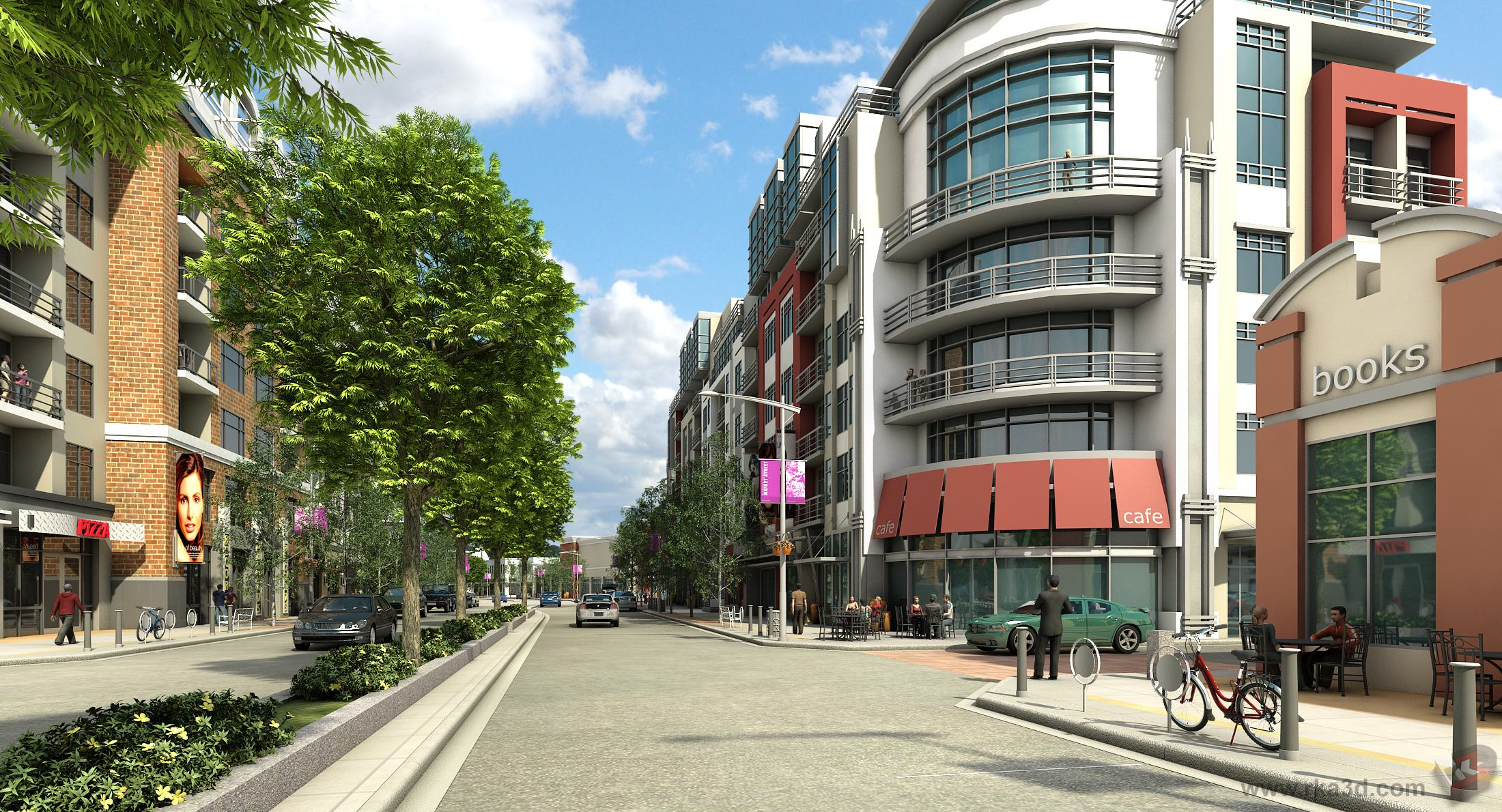Conceptual rendering of a mixed-use street in SETON.