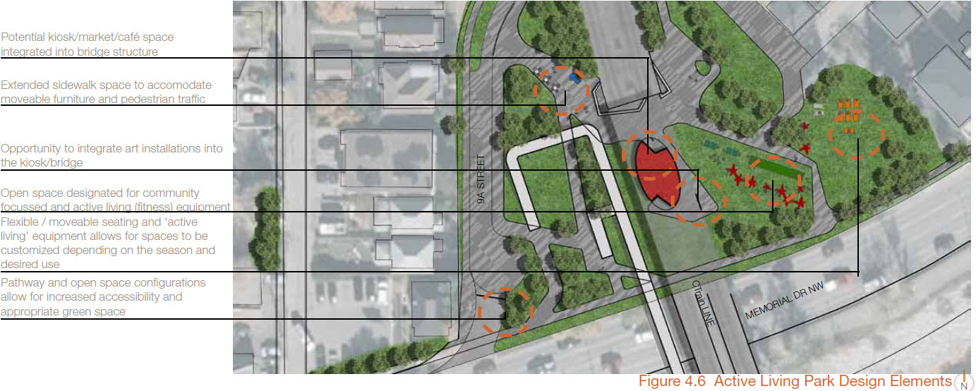 Detail of one of the nodes of the Bow to Bluff Park (image credit: City of Calgary)