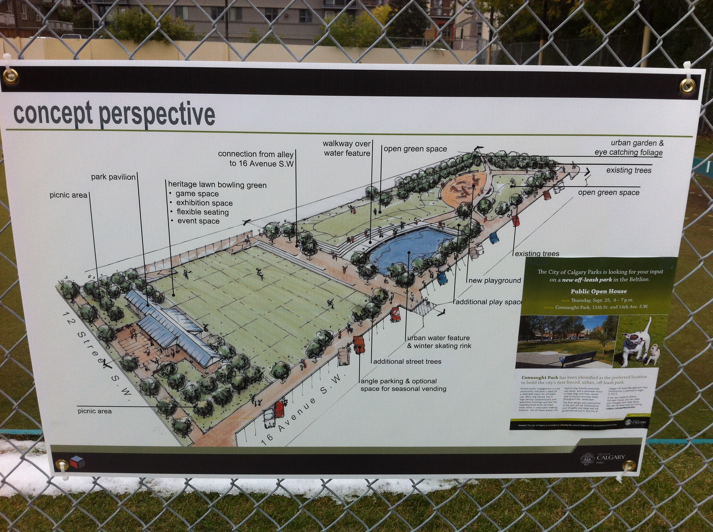 Concept plans developed by Ground3 Landscape Architects for the old Calgary Lawn Bowling site. This is just one of several information panels on the fence allowing everyone to know what is being planned. It doesn't get more transparent than this.