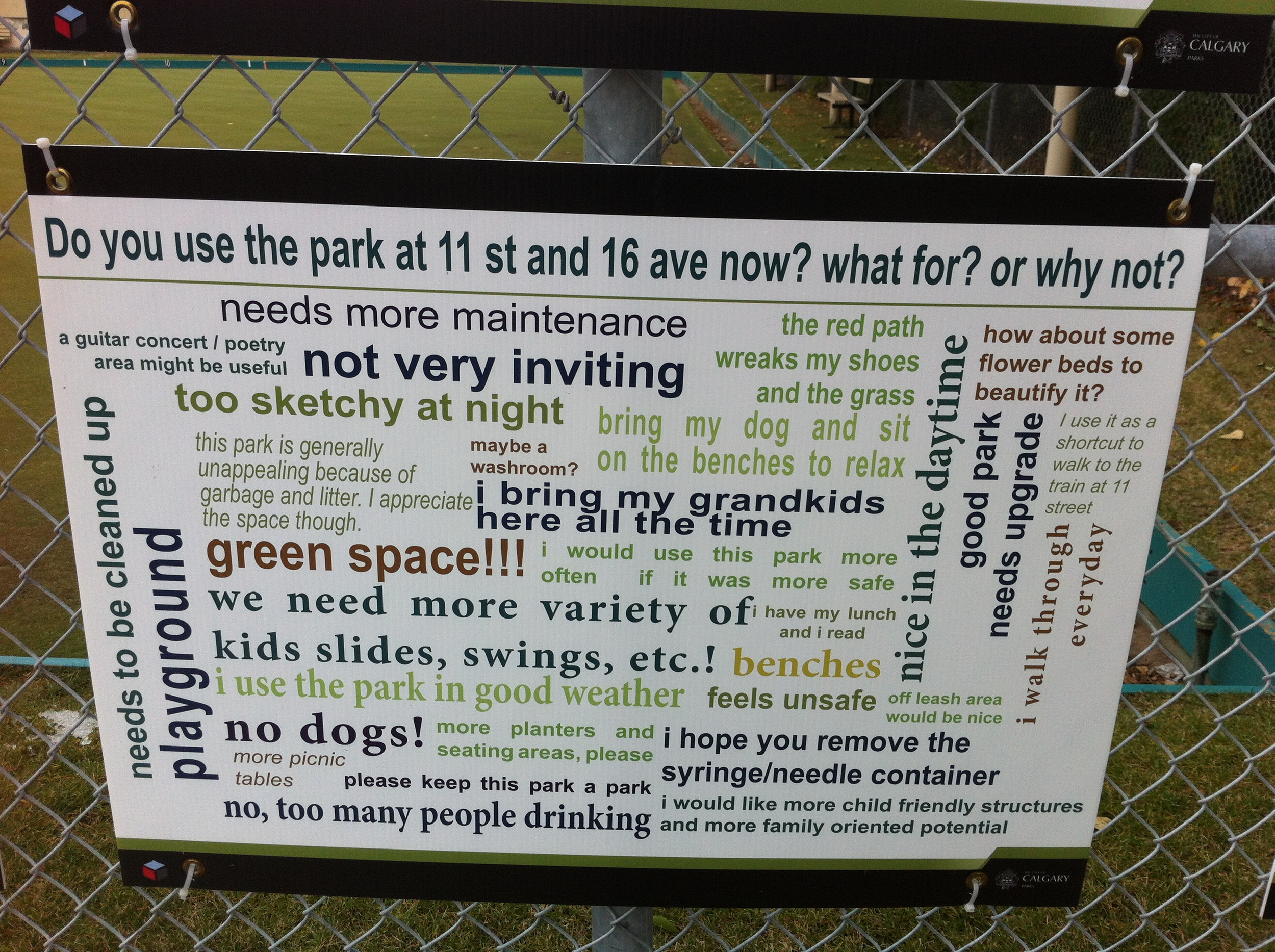 Information panel informing residents of plans for new park space with a mix of uses.