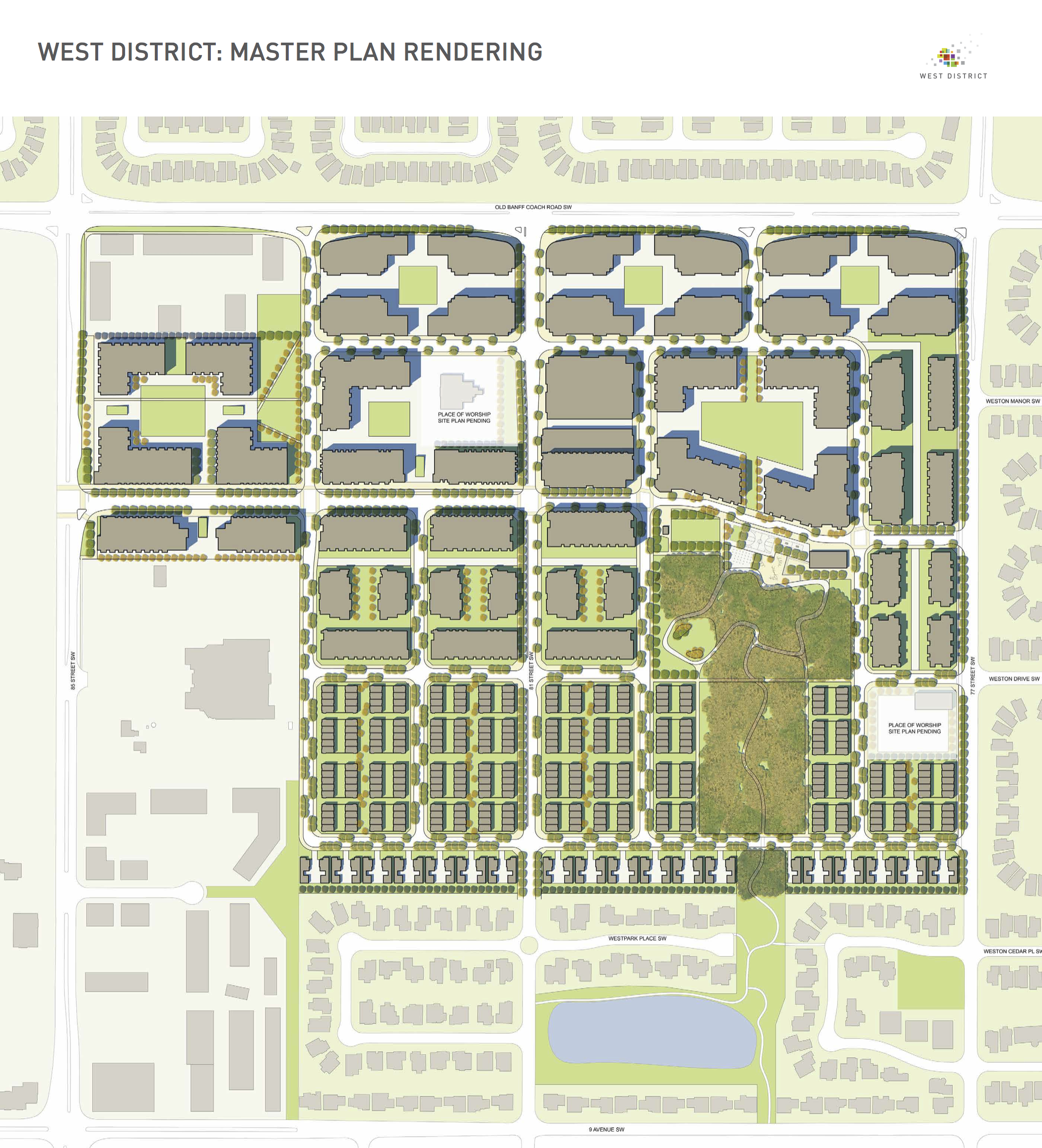 West District calls for low density residential on the south side next to single family homes, with low-rise condos and offices on the north side with a traditional grid street pattern which will server to create the Kensington-like community.