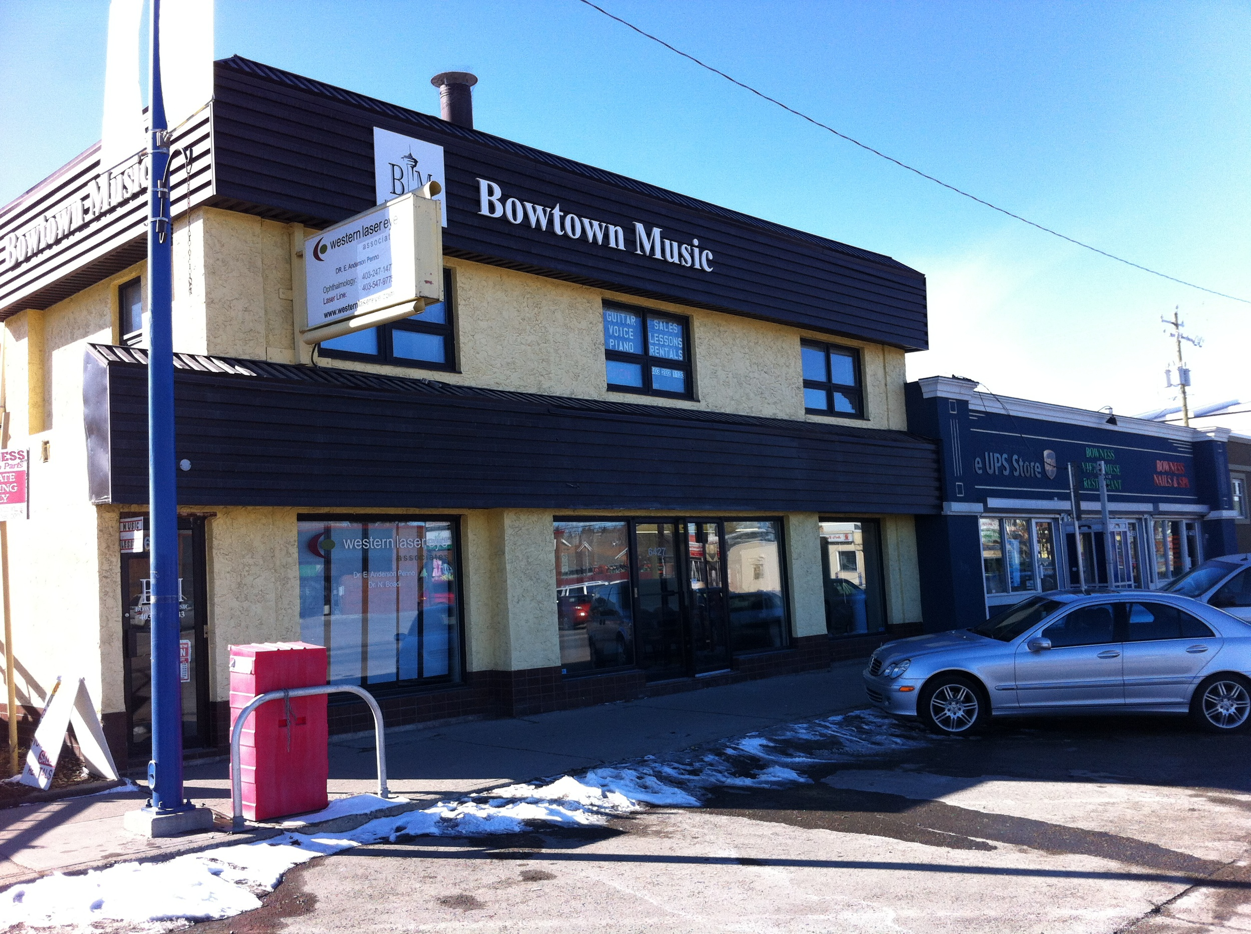 Bowness has an existing Main Street, complete with angle parking. The goal is to enhance the street with more shops, cafes, restaurants,residential and office development.