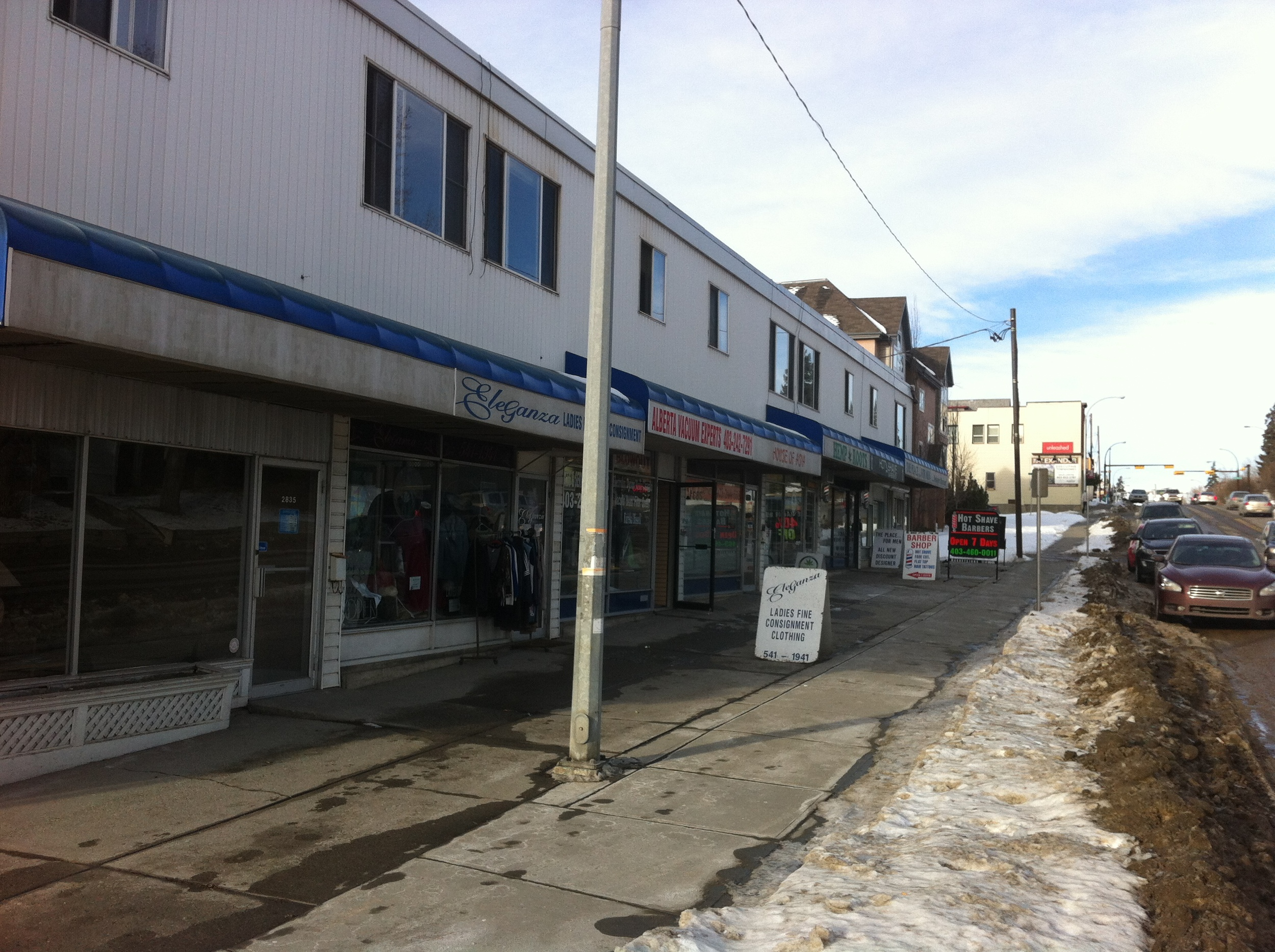 14th Street SW is a prime candidate for a Main Street program on the west side of the street. These single storey buildings could be replaced with 4 to 6 storey structures with retail, restaurants and cafes along the street.