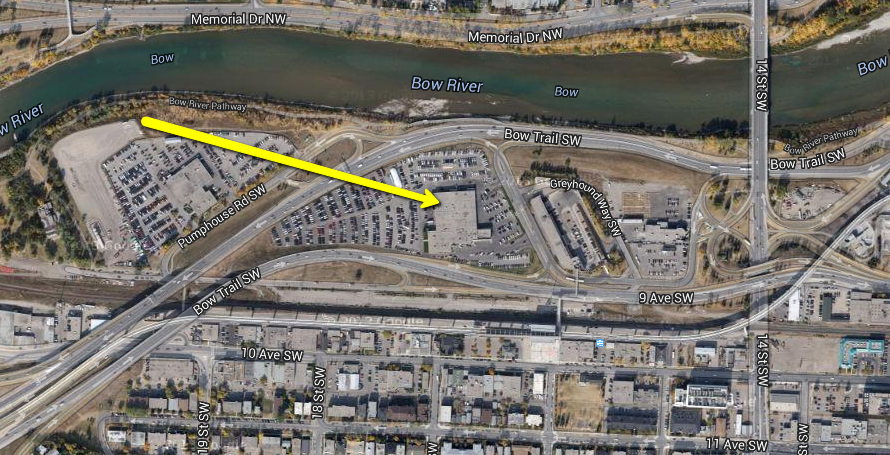 With the development of the West LRT, the under utilized land west of 14th Street had been identified as a site for redevelopment, however the cost to reconfigure the road and other infrastructure work make this site very costly to redevelop.  (Image credit: Ross Aitken)