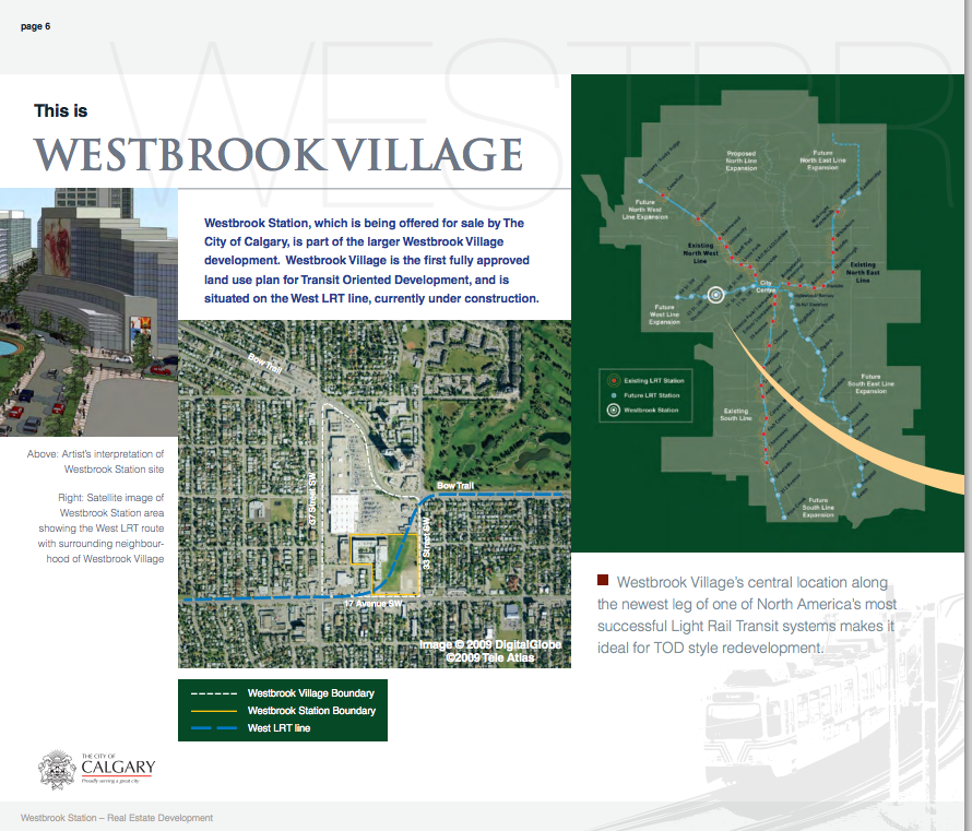 Images are from City of Calgary's Westbrook Village brochure.