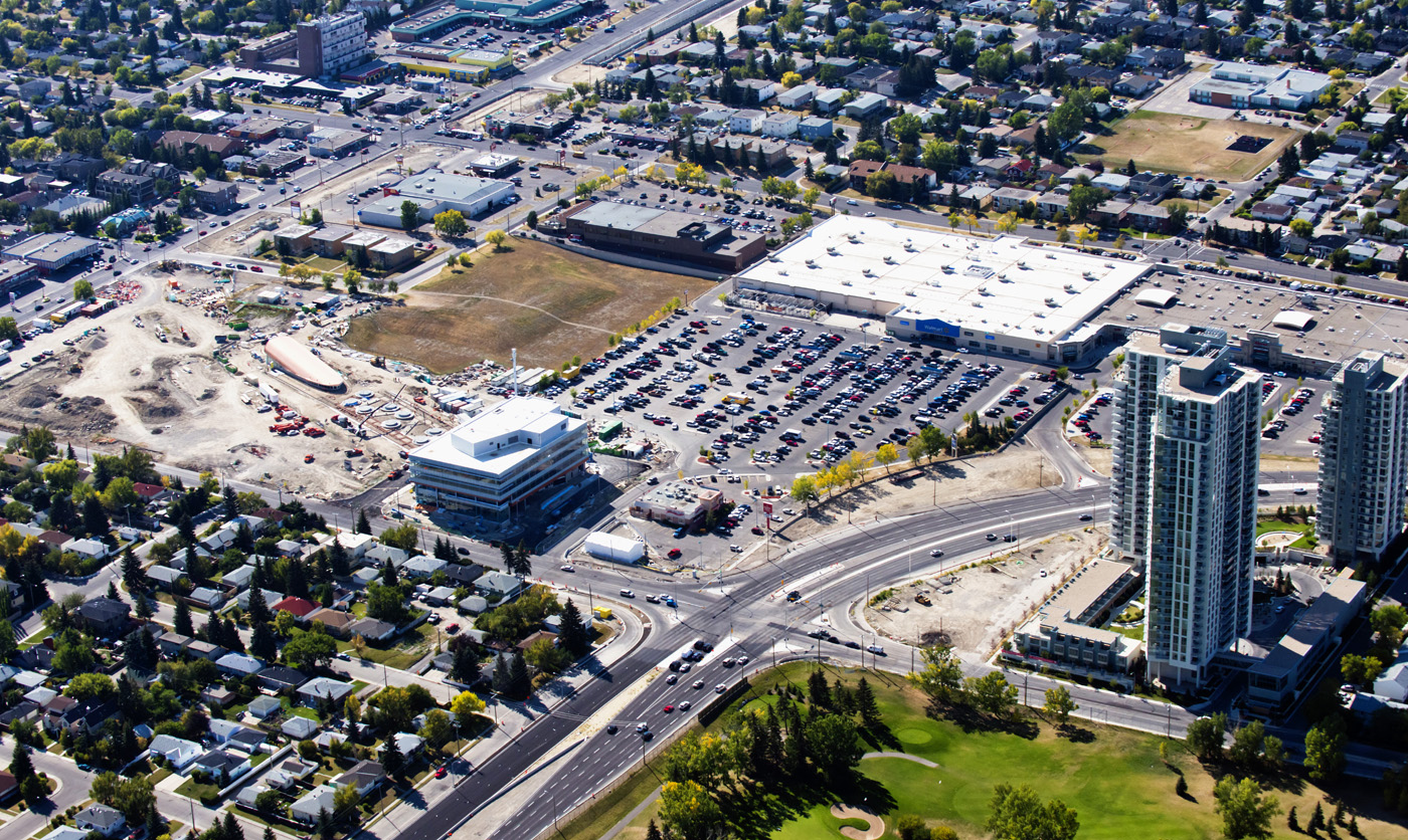 Aerial view looking northwest of the Westbrook Station site with the existing shopping centre and the new condo towers in the bottom right corner.  (  www.peakaerials.com )