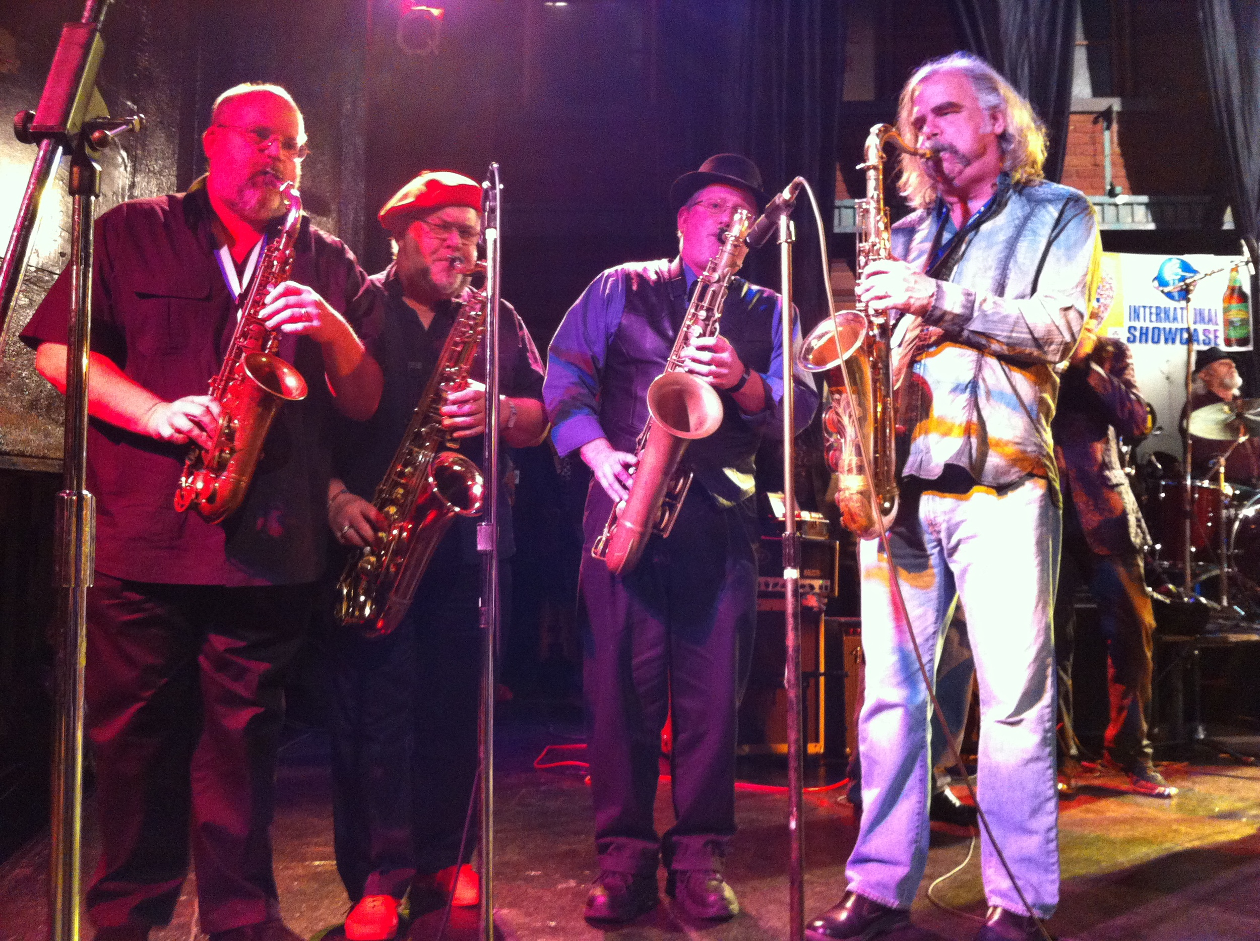Mike Clark (far right) with some of his new best friends jamming at IBC 2014.