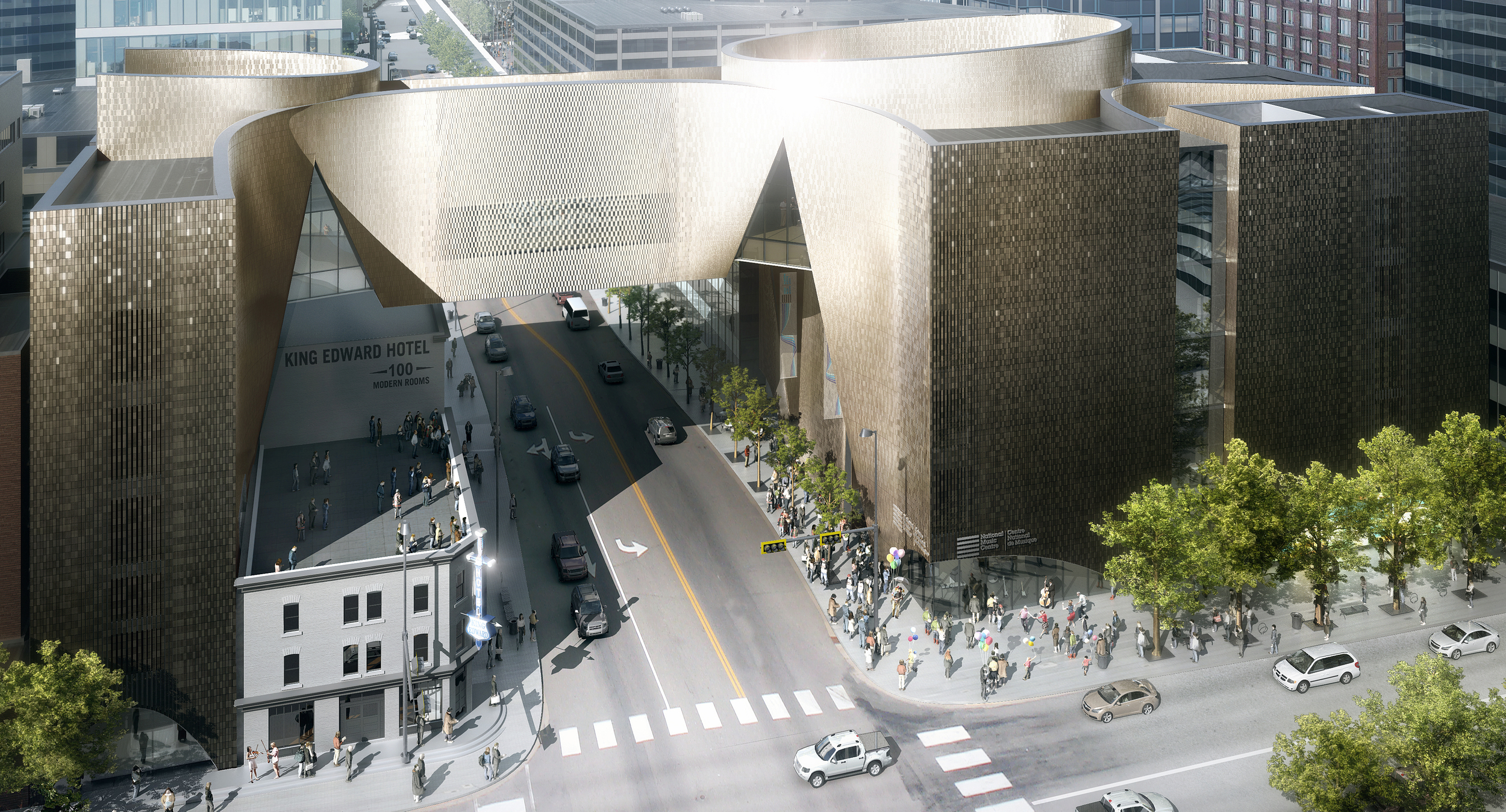 Rendering of the dramatic design of theNational Music Centre during the day. (photo credit: Allied Works Architecture)