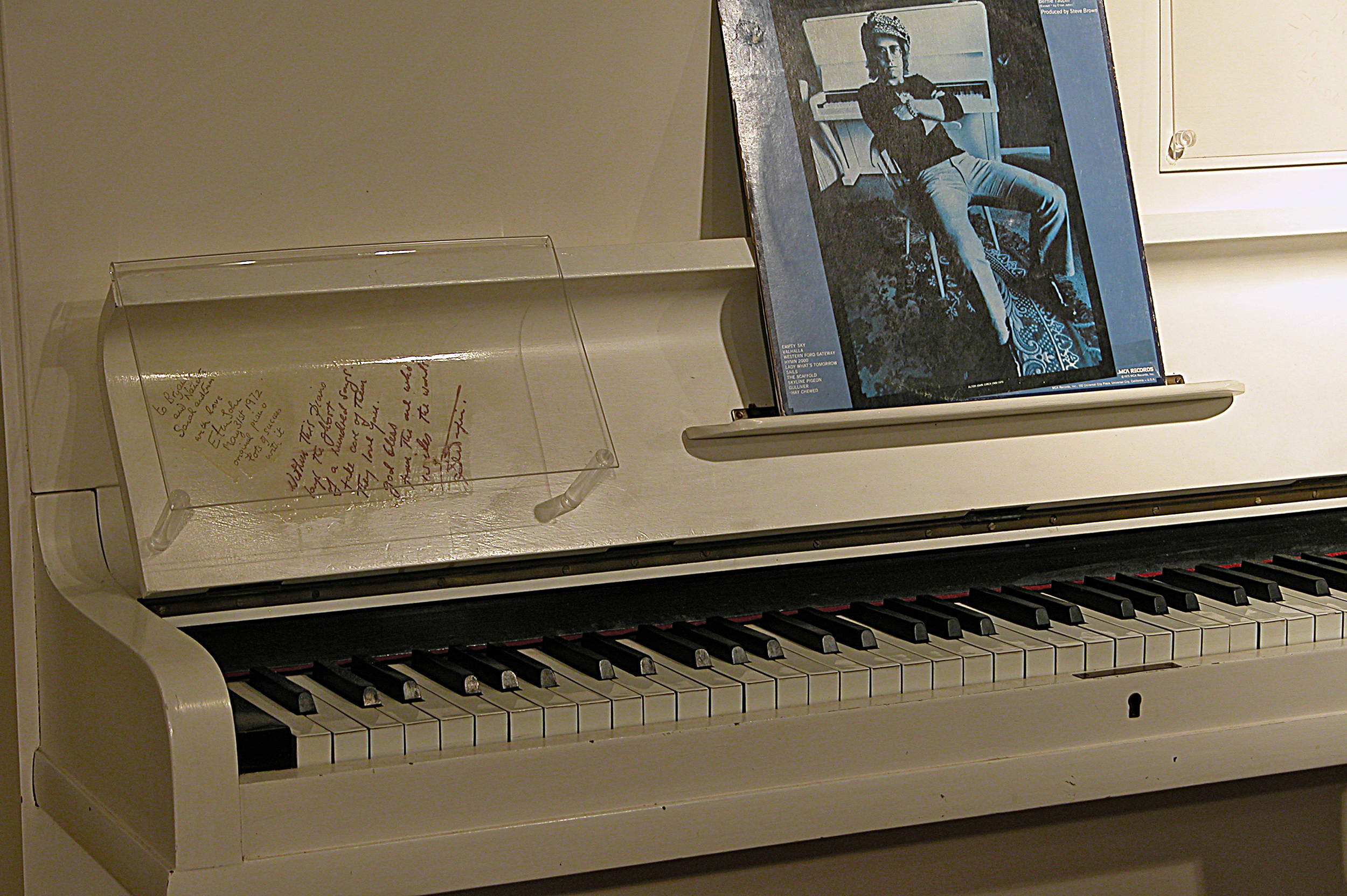 National Music Centre has one of the largest keyboard instrument collections in the world; this is Elton's John piano. (photo credit: National Music Centre).