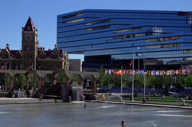 The Municipal Building, old City Hall and Olympic Plaza.