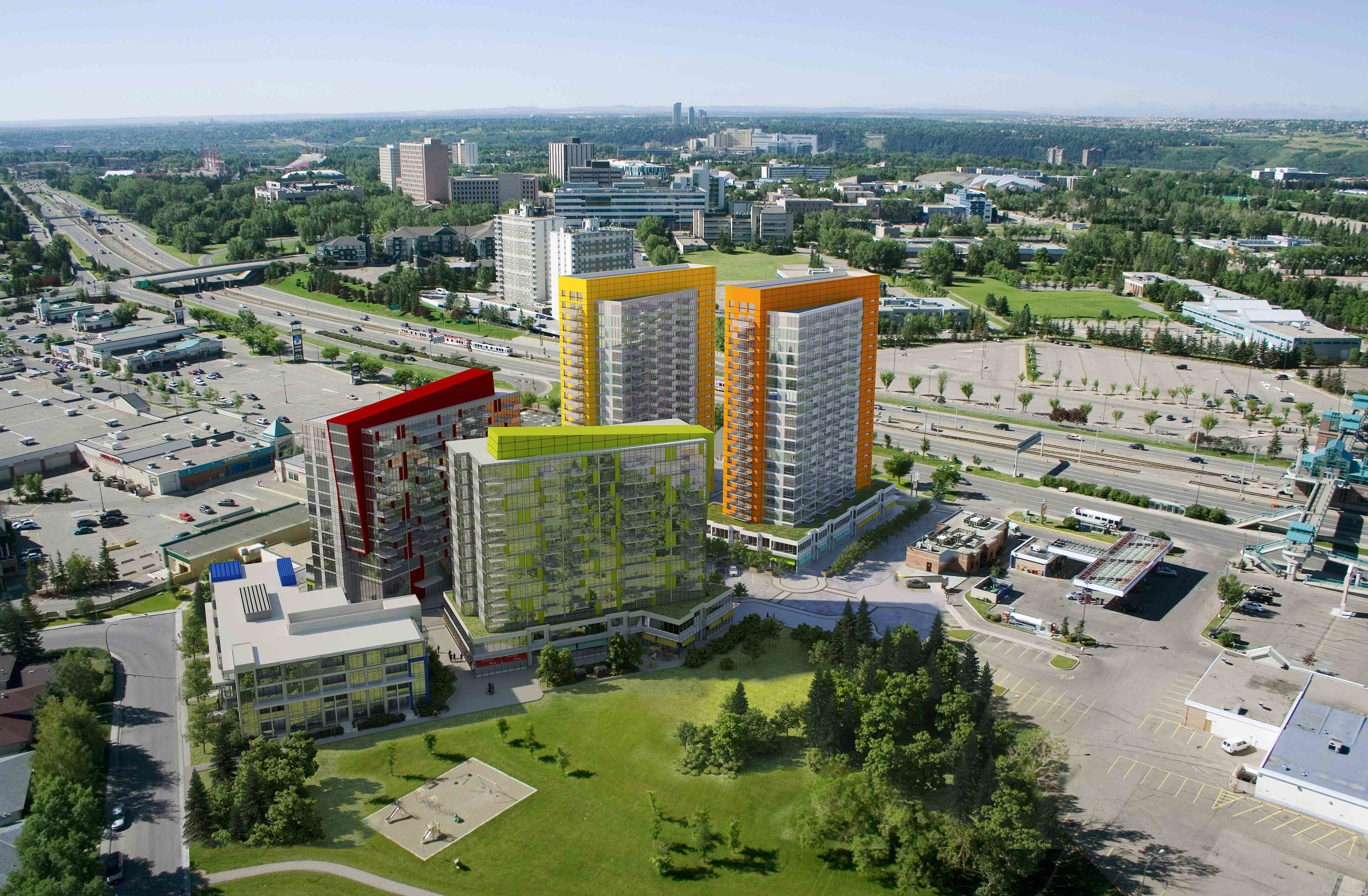 University City is a multi-phase development that will convert a retail power center with a sea of parking into an urban village next to an LRT Station (middle of image far right side) across from the University of Calgary (other side of Crowchild Trail).