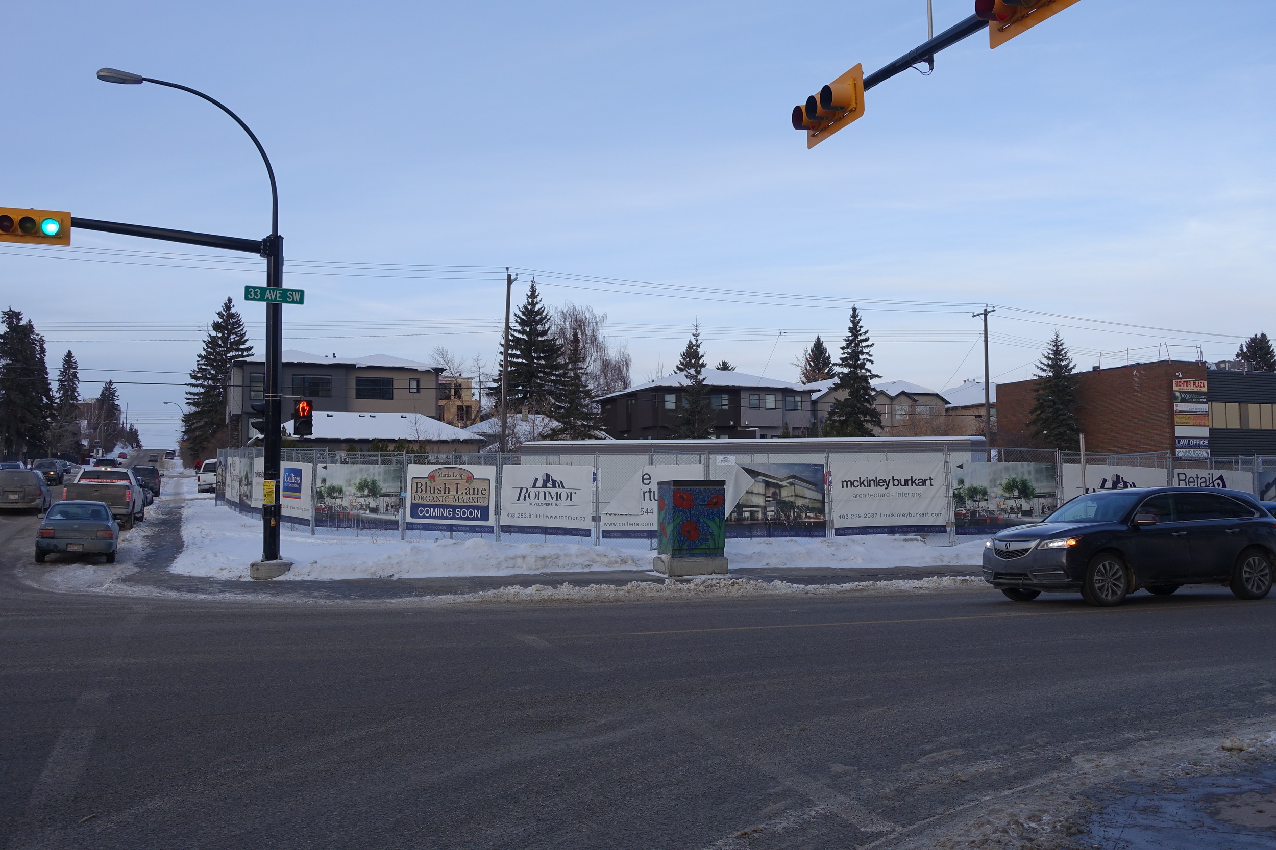 Future site of The Odeon retail/office development on 33rd Avenue.