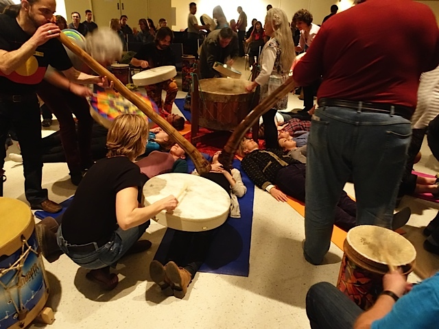 Yoga meets drum circle!  The vibration you feel as someone drums and hums over your body is both spiritual and surreal.