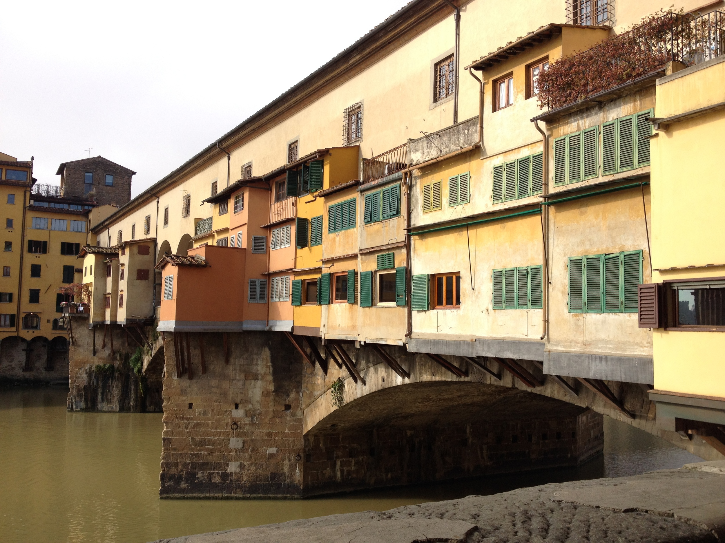 Close up view of the Ponte Vecchio Bridge.