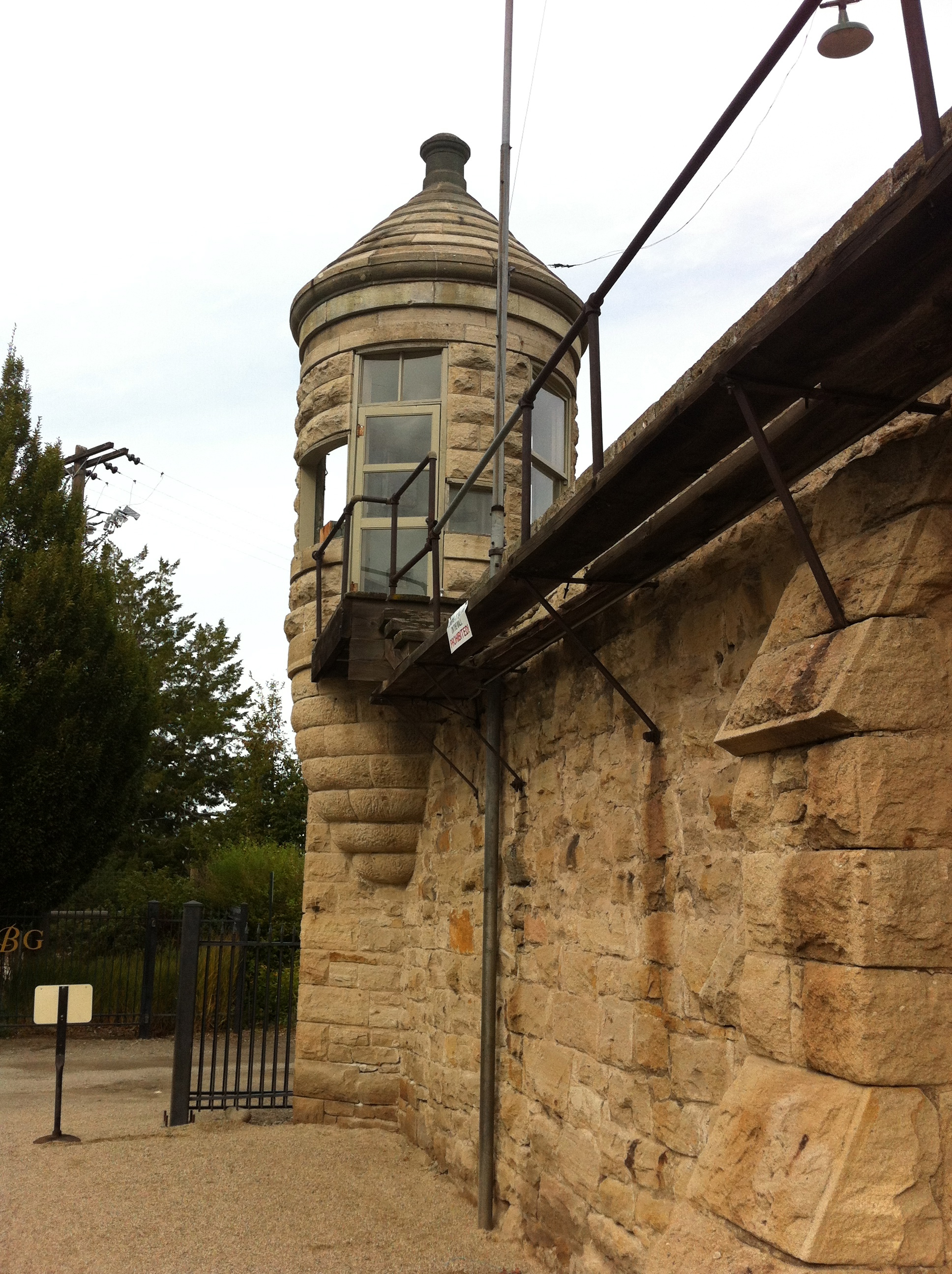 The sand stone wall,guard house and walkway.