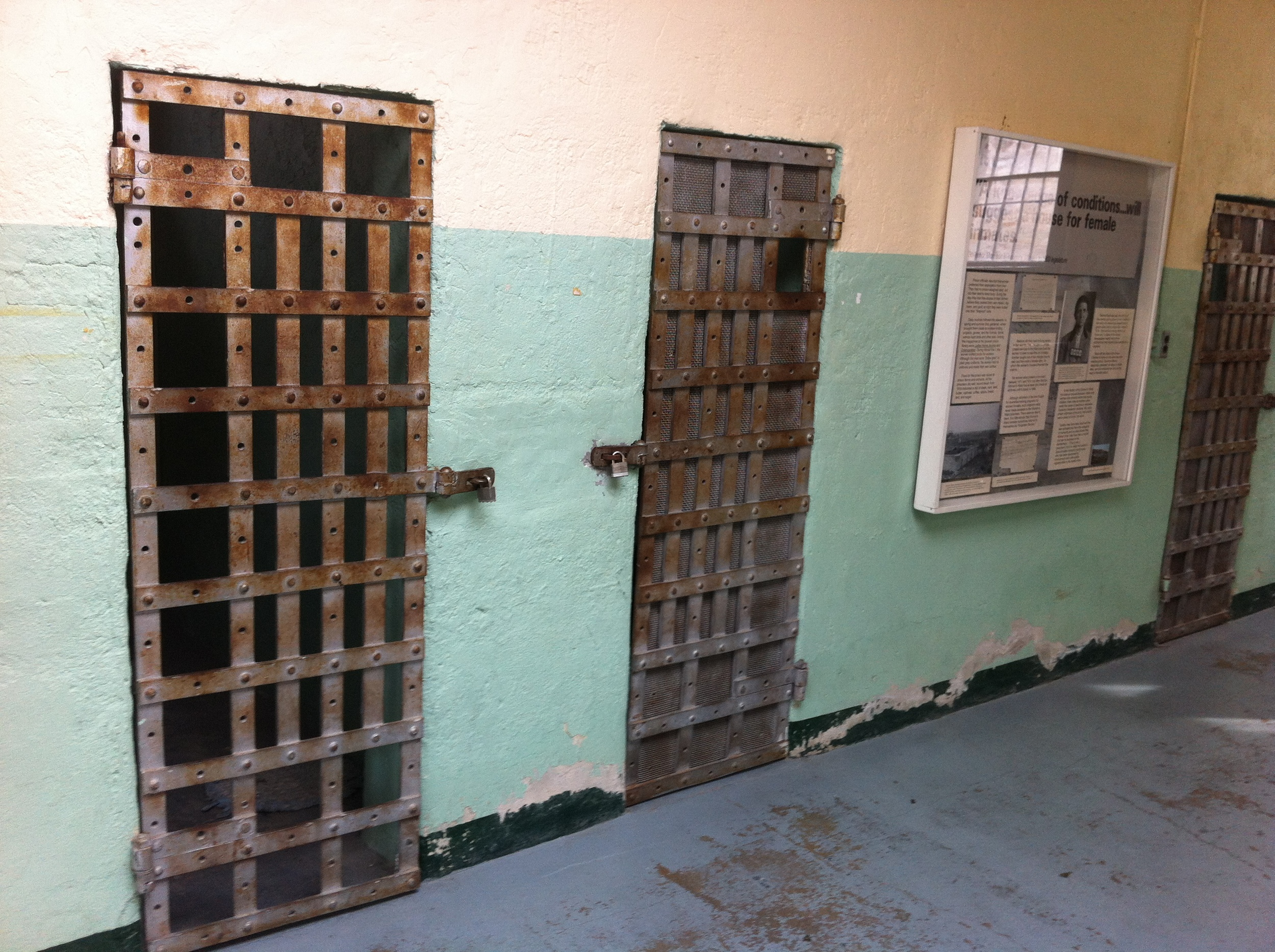 The women cells were in a separate building. While the conditions were minimal there was some colour and lots of light.