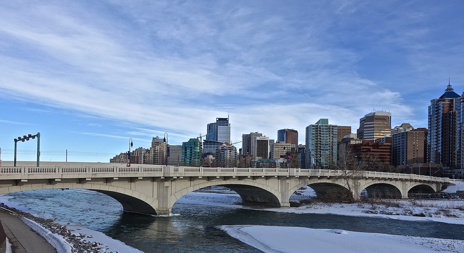 The Hillhurst bridge provides some of the best views of the Bow River and the downtown skyline.