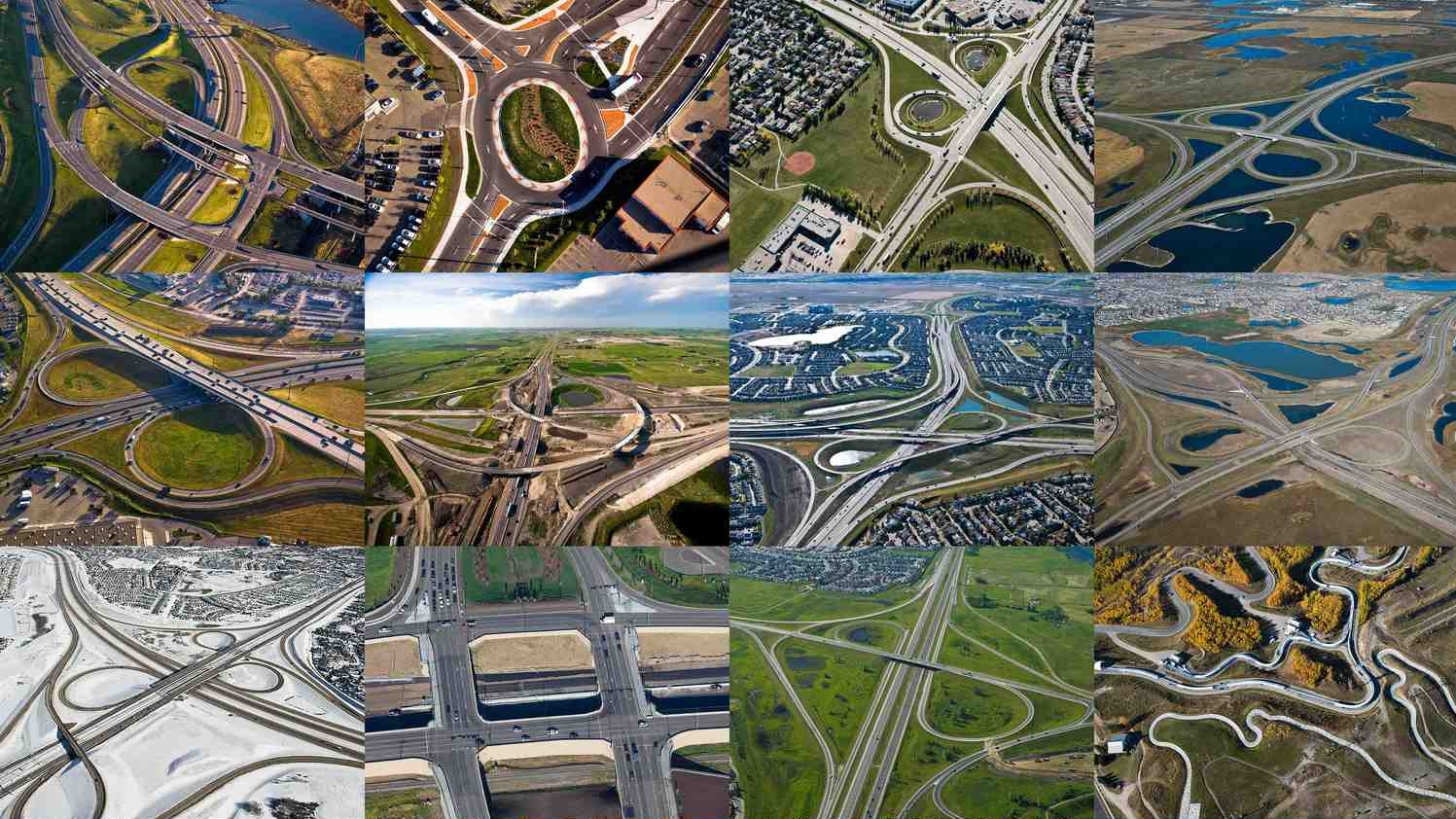 This is a collage of some of Calgary's road knotscreated by Peak Aerials. Note: one of them is not a road. Can you tell which one?