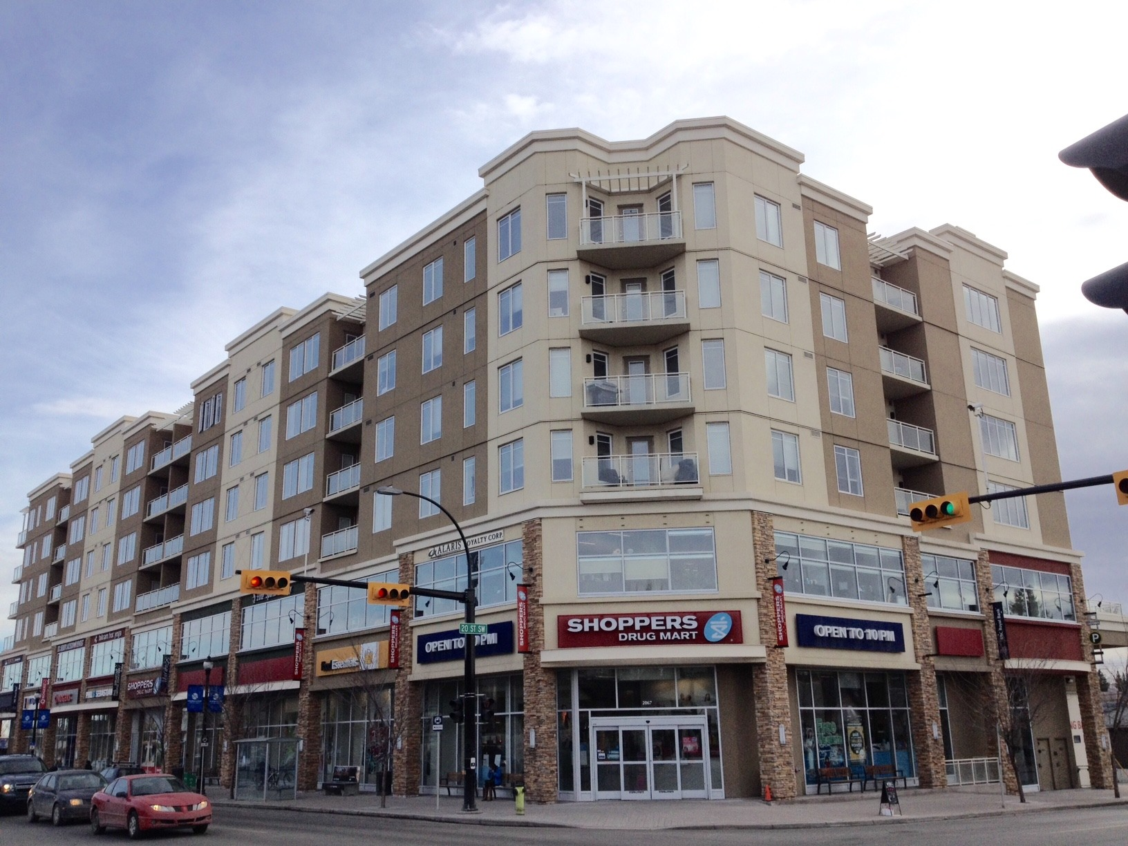 Marda Loop is an example of a contemporary pedestrian streets with retail shops at street level and condos above.  They bring new residents  and  retailers to help revitalize the community with many of the shops open 7 days a week and into the evening.