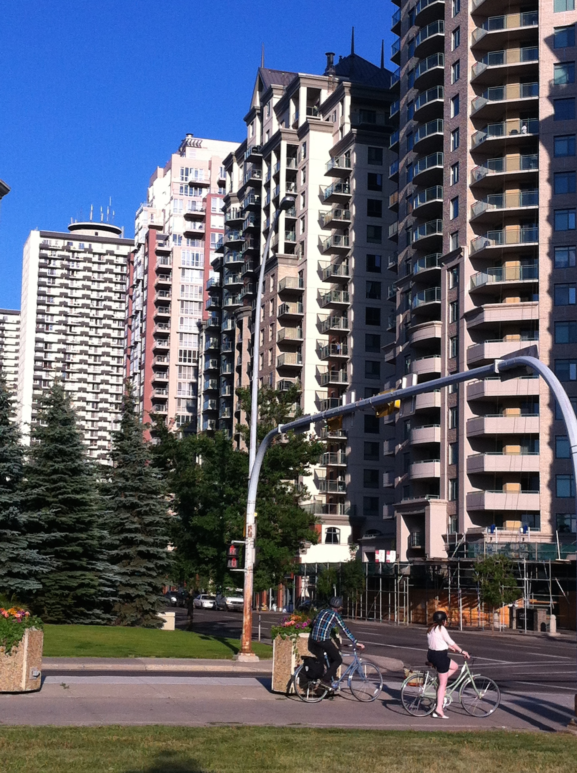 Yuppies and Ruppies are attracted to the maintenance free condo lifestyle in Calgary's West End neighbourhood.