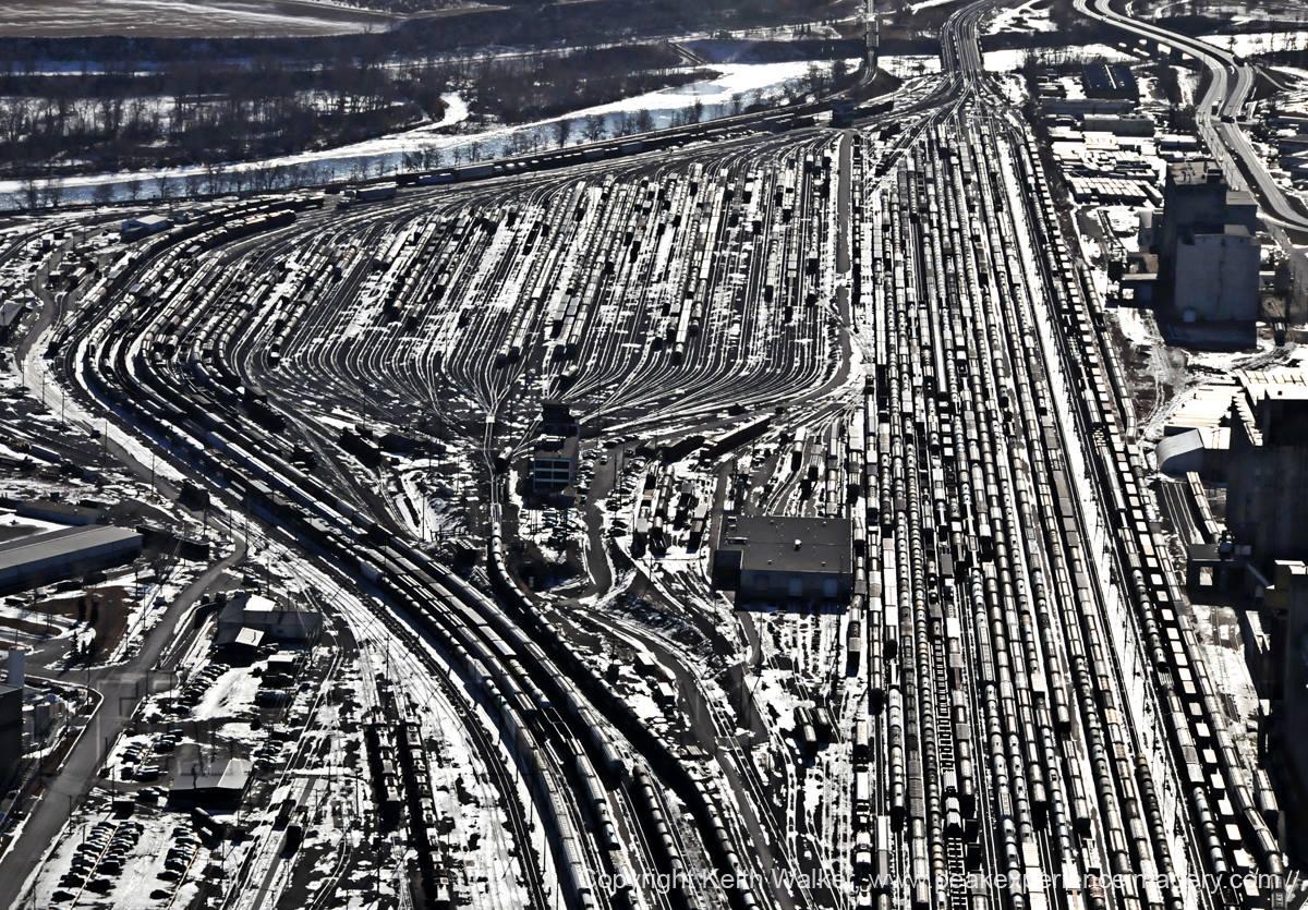 Calgary rail yard. (photo credit: Peak Aerials)
