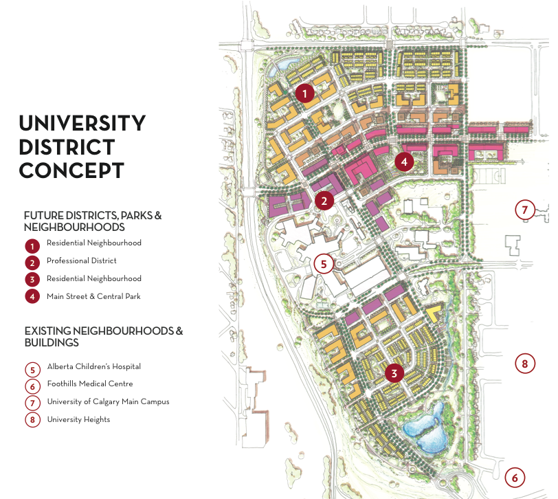 University District's proposed street names, neighbourhoods and parks. (image credit: West Campus Development Trust)