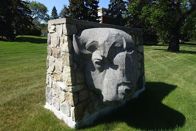 While many have seen the full buffalo sculpture from 9th Avenue, this art deco style buffalo head in the middle of the site is a hidden gem. It definitely deserves to be a focal point of public space.