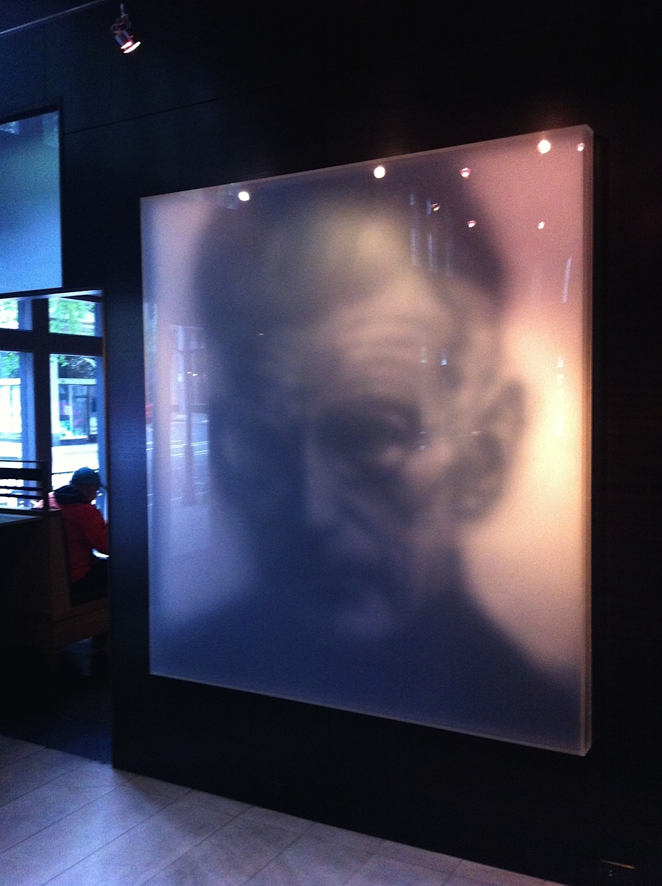 """I loved this haunting image of Samuel Beckett that greetsyou as you enter the hotel. It immediately shouts, """"This is a cool place!"""" The artwork is by local artist Stephen Kaluza."""