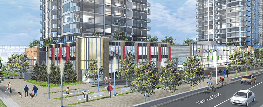 Erlton Station mixed-use development includes retail along Macleod Trail with a grocery store.