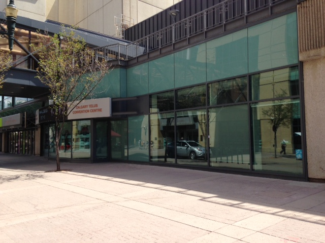 Hard to believe Calgary Telus Convention Centre on Stephen Avenue could look this sterile during Stampede.
