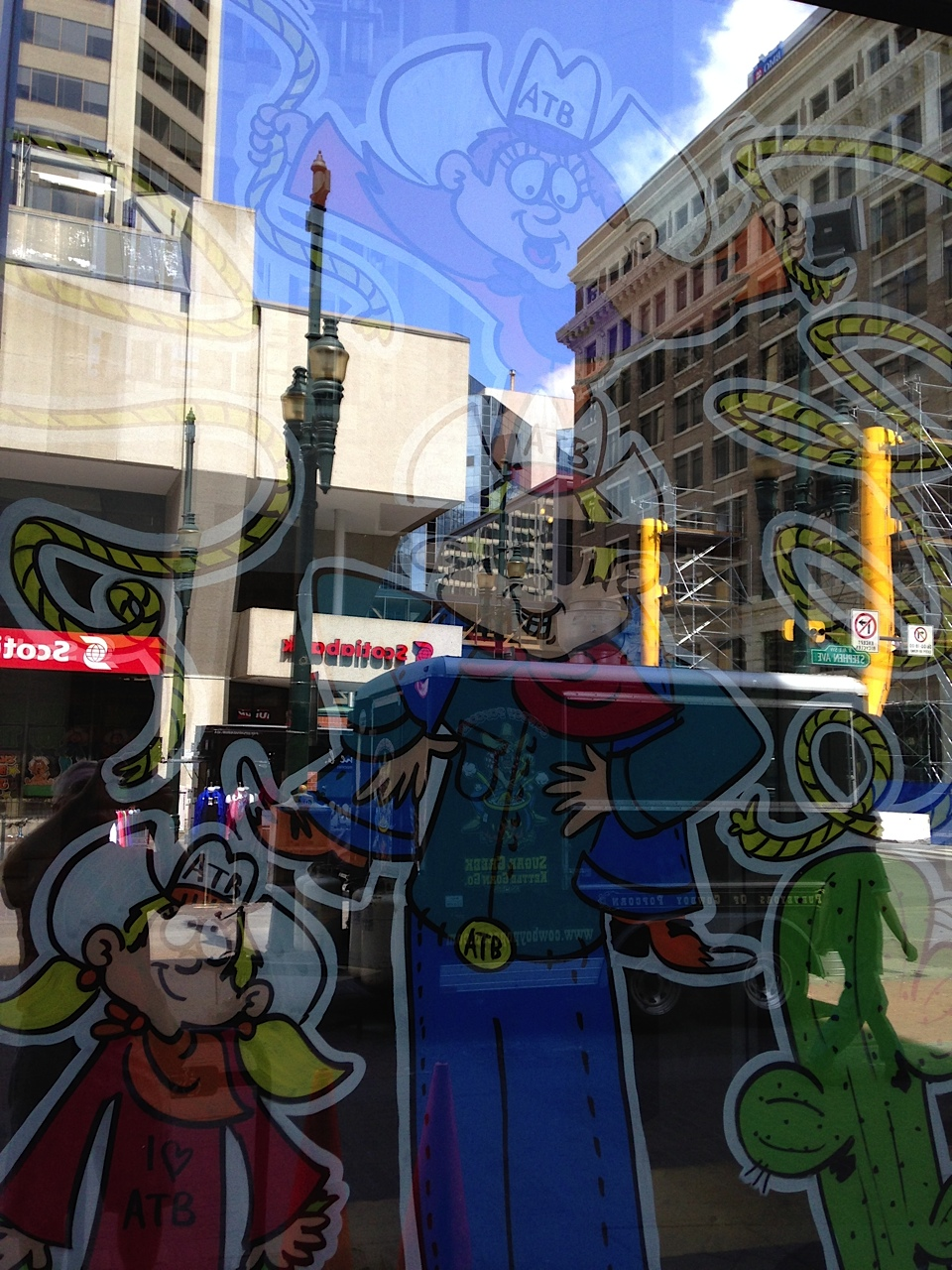 Most of the banks downtown were good at decorating their window with kitschy cartoons.