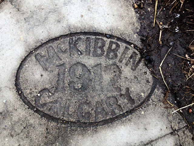 One of Calgary's oldest sidewalk stamps in Hillhurst.