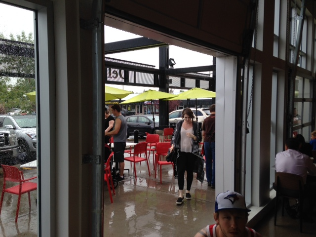 The rain had put a bit of a damper on the outdoor patio as we arrived.
