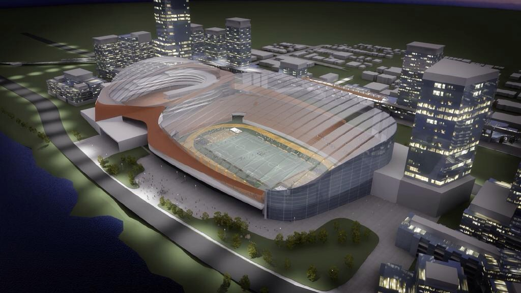 Rendering of the proposed translucent roof that will give the feel of an outdoor stadium.