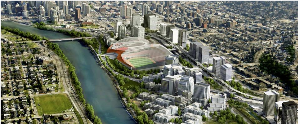 Rendering of the CalgaryNEXT stadium and arena in the middle of West Village. The white buildings in the foreground and the taller buildings along the LRT and CPR tracks are the new tax generating building that would generate new tax revenue to pay off the Community Revitalization Levy loan.
