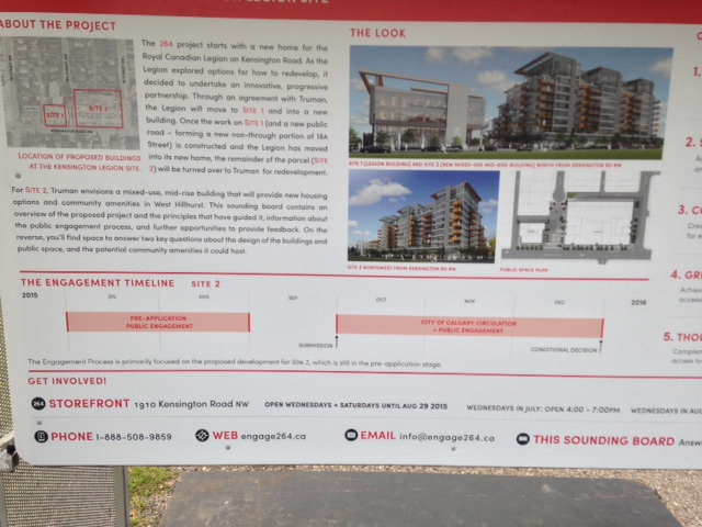 Information panel outlining the process for rezoning and development permit approval at the kiosk.