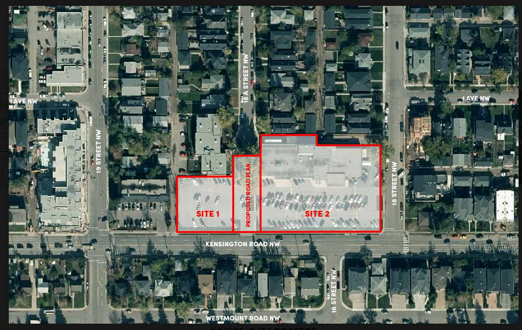 Site 1 is where the proposed Phase One 4-storey office building will be located and Site 2 is where the proposed Phase Two mixed-use retail/condo building will be located.