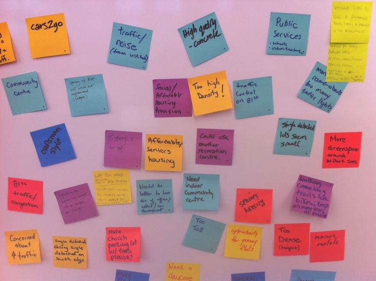 A typical post-it board of comments from any open house or community workshop for an major infill development.
