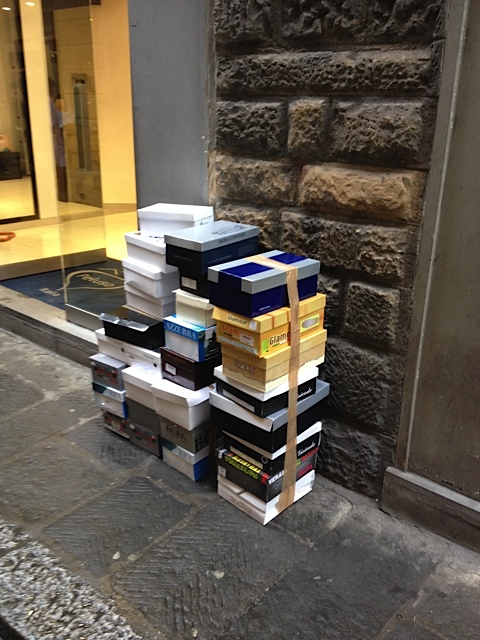 There is no lack of empty shoe boxes in Florence.