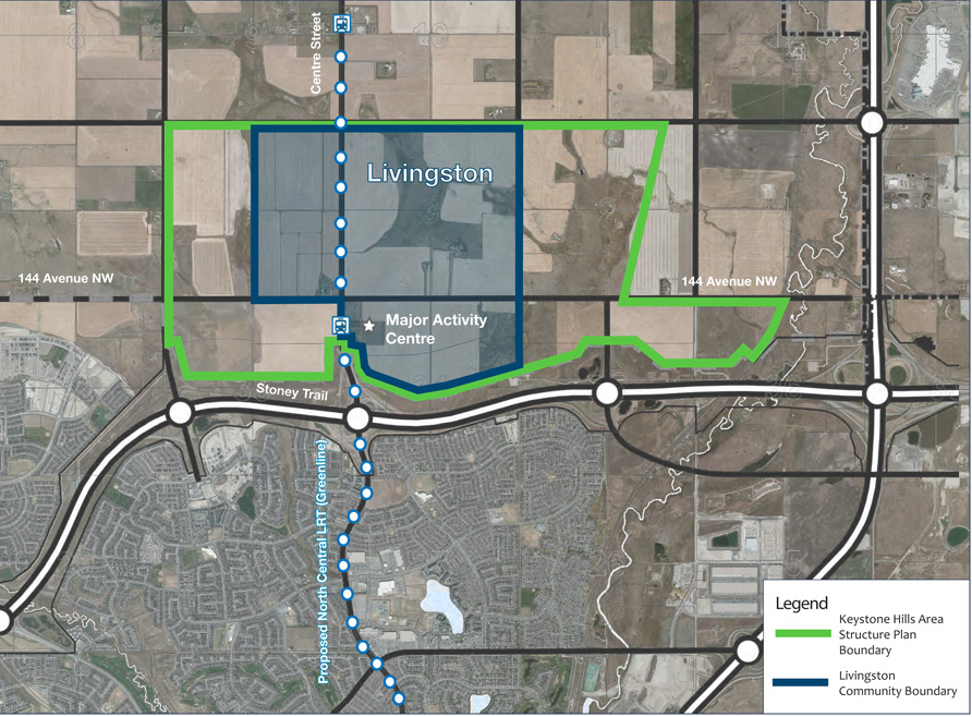 "New community of Livingston is being planned as ""live, work, play"" community with 90% of homes within 400m of transit."
