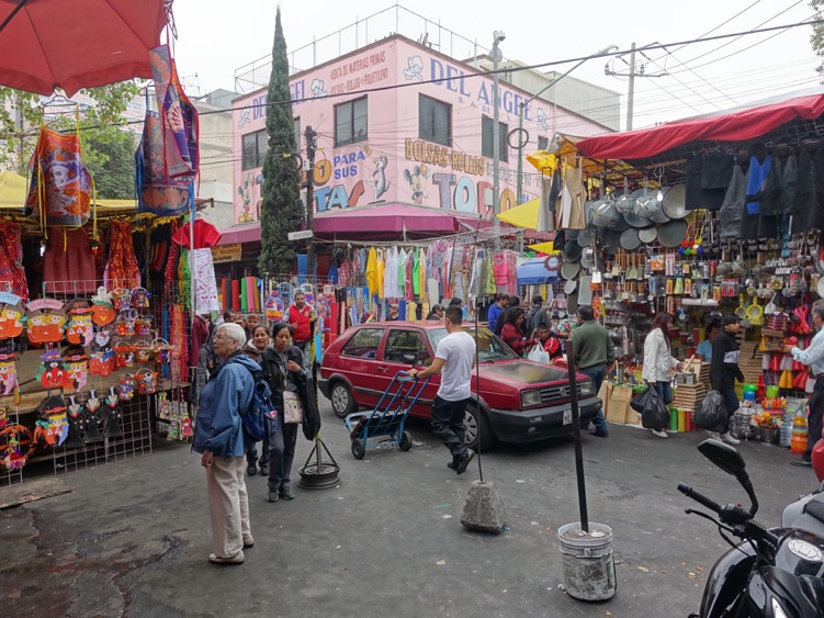 Mexico City has lots of market streets like this one that are a free-for-all, while at the same time full of life and energy.